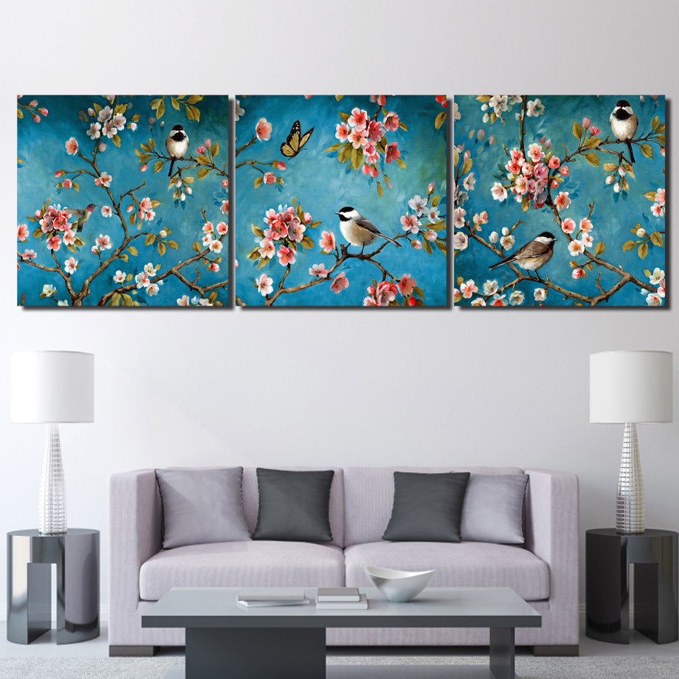 3 Piece Canvas Painting Tradition Art Birds Flowers HD Printed Wall Pictures Living Room