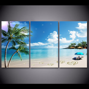 3 Piece Canvas Art HD Print Tropical Beach Palm Tree Painting Living Room Wall