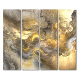 4 Piece Printed Abstract Gold Gray Clouds Painting Canvas Wall Pictures Wall Art Canvas