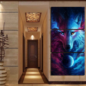 Where Light And Dark Meet by JoJoes HD print 3 Piece Canvas Art Wolf Eye Posters Wall Art Picture Home Decoration