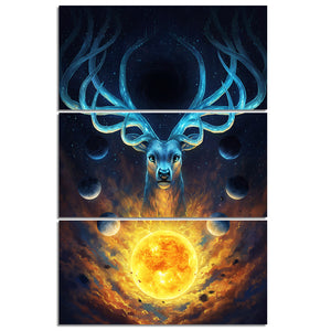 Celestial by JoJoesArt HD Print 3 Piece Canvas Art Deer Planet Wall Art Picture Home Decoration Painting-Poster