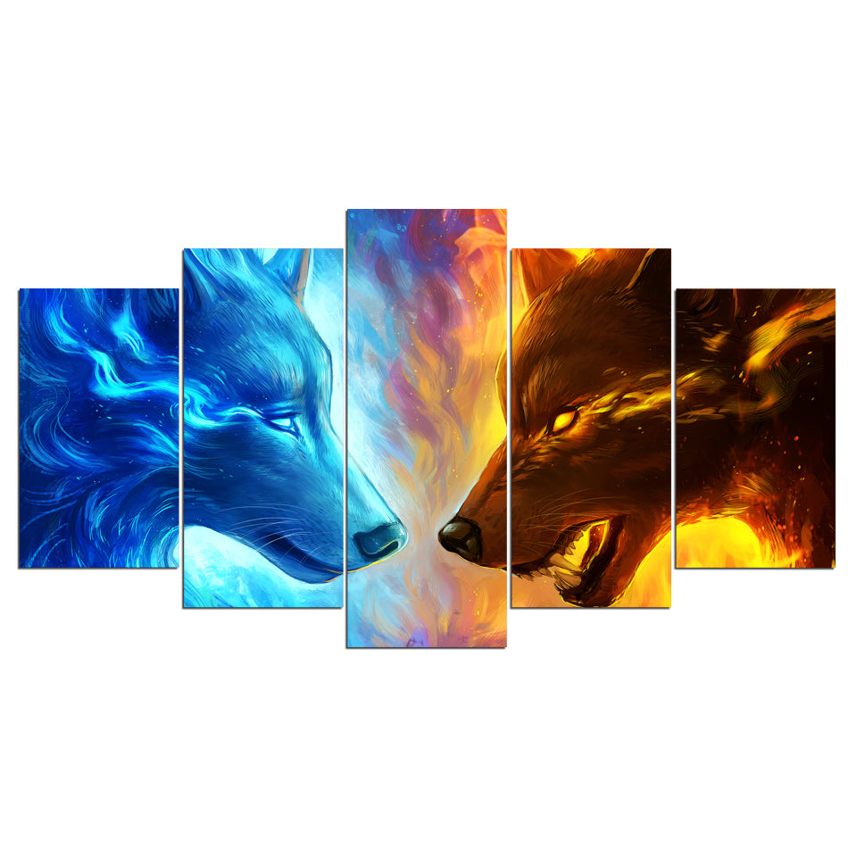 Fire And Ice Hd Print 5 Piece Canvas Art 2 Wolf Wolves Wall Art