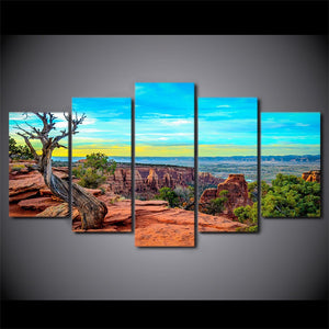 HD Printed 5 Piece Canvas Art Sunset Mountains Wall Pictures Living Room Modern