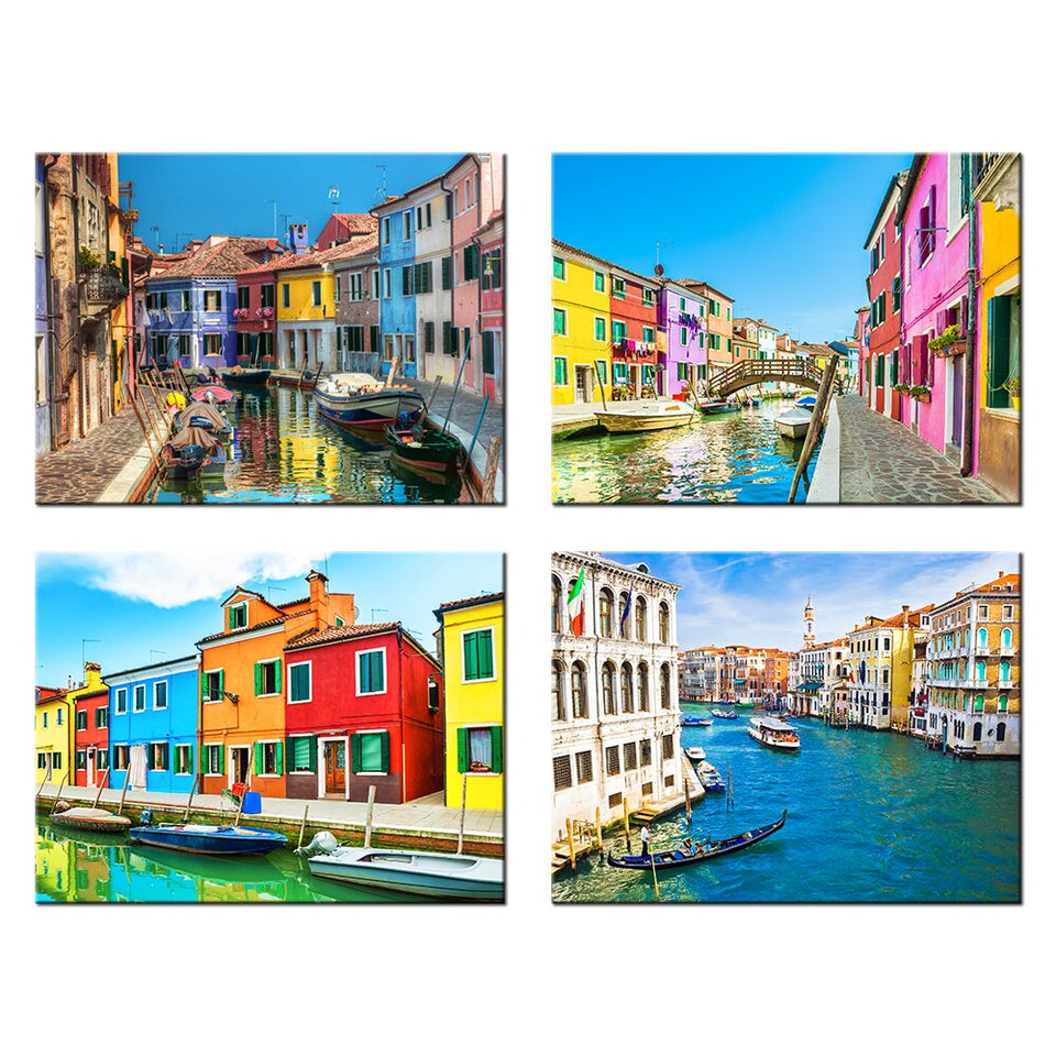 4 Piece Modern Canvas Painting Italy Venice Landscape Wall Art Poser Print Beautiful City River Pictures