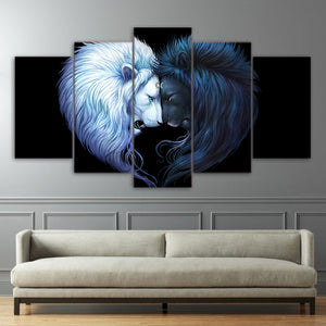Brotherhood Black by JoJoesArt HD Print 5 Piece Canvas Art Black and White Lion Poster Room Wall Pictures