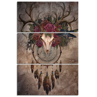 Mystery Skull Dreamcatcher by Sunima-MysteryArt HD Print 3 Piece Canvas Art Deer Skull For Living Room Decoration
