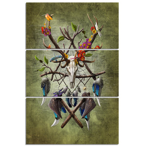Native American Skull by Sunima-MysteryArt HD Print 3 Piece Canvas Art Antelope Feather Wall Pictures For Living Room
