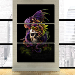 Flowery Skull by Sunima-MysteryArt HD Print 3 Piece Canvas Art Purple Flower Wall Pictures Decoration Pictures