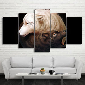 Yin and Yang by JoJoesArt HD Print 5 Piece Canvas Art 2 Wolves Painting-Poster Wall Pictures