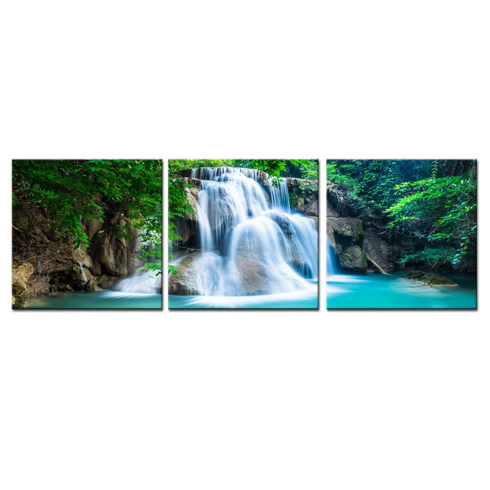 3 Panel Green Forest Waterfall Canvas Wall Art Print Painting Nature Landscape Poster 3D Wallpaper Picture