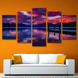 5 Piece Canvas Art Lake Board Walk Printed Wall Art Home Decor Canvas Painting Picture Poster Prints