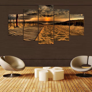 HD Painting Wall Art Printed Modern Canvas 5 Panel Seaside Scenery Pictures Modular