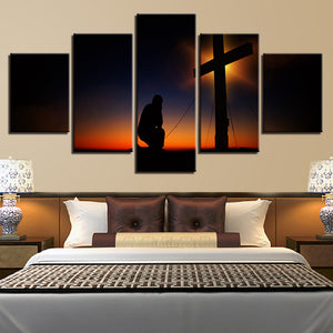 Wall Pictures Decoration Art HD Printed On Canvas 5 Panel Dusk Sunset Glow Christ Cross Painting