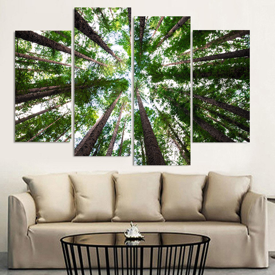 Modular Painting Canvas Wall Art Picture 4 Pieces Green Forest Tall Tree Natural Scenery