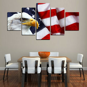 Modular Living Room Wall Art Painting 5 Panel Eagle American Flag HD Printed Canvas Modern Pictures