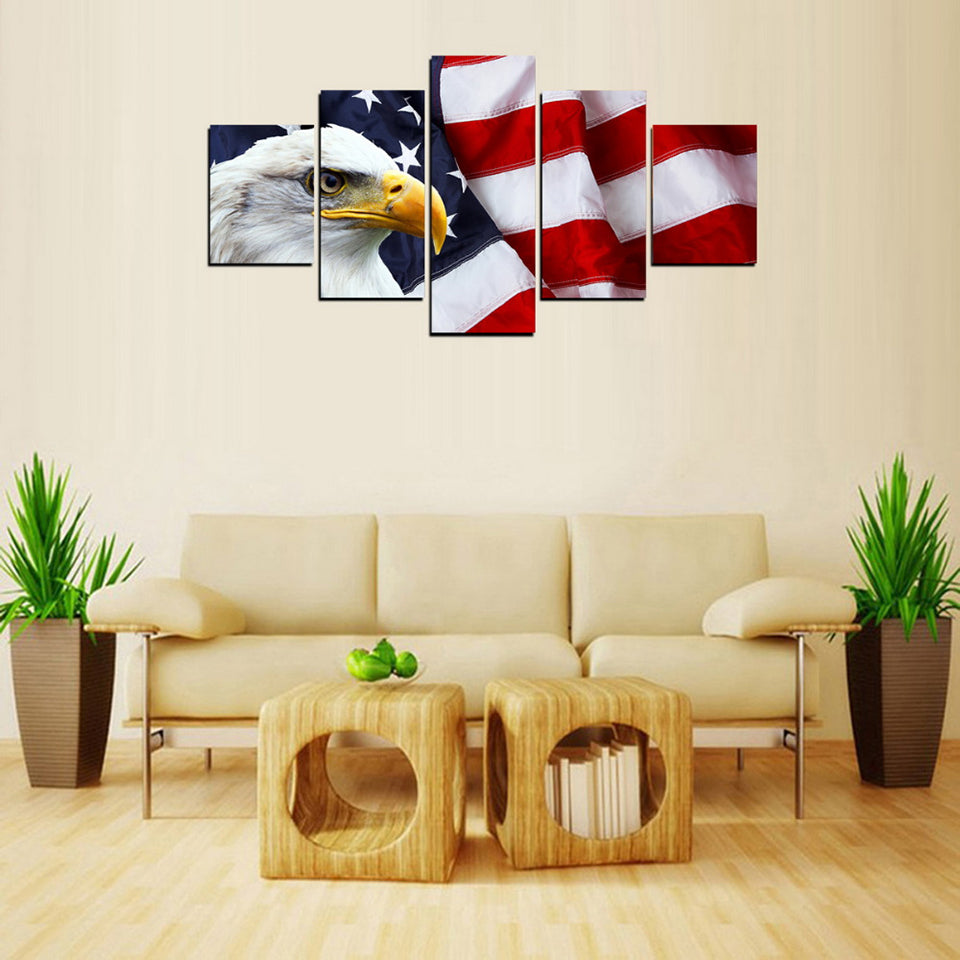 ... Modular Living Room Wall Art Painting 5 Panel Eagle American Flag HD  Printed Canvas Modern Pictures ...