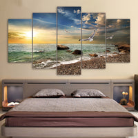 Canvas Wall Art Pictures Kitchen Restaurant Decor 5 Pieces Sunset Landscape Animal Seagull Beach Print