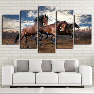 HD Printed Art Modular Poster 5 Piece Animal Horses Wall Modern Canvas Cuadros Painting