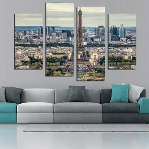 Wall Art Poster Modern Home Decoration Living Room 4 Pieces Eiffel Tower City Buildings Landscape Canvas