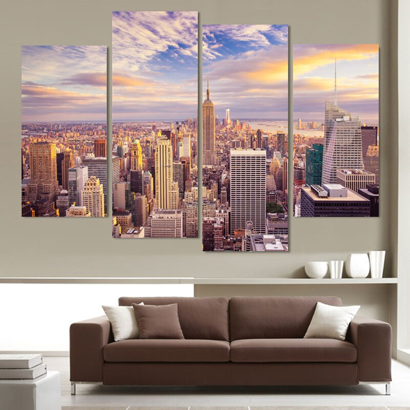 4 Piece Canvas Painting Wall Picture Living Room Home Decor Painting Printed New York City Landscape Canvas