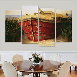 4 Pieces Modern Wall Oil Painting Boat Canvas Art Prints Home Decoration Wall Art Canvas Pictures