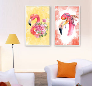 2 Panels Canvas Painting  Nordic Pink Flamingo Flower Wall Prints Modern Living Room Home Decoration Poster