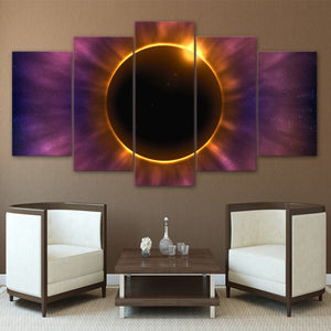 HD Printed 5 Piece Canvas Art Solar Eclipse Modern Prints Wall Pictures Living Room