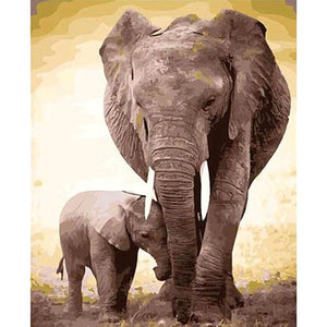 Picture by Numbers Elephant Mother and Child Pictures by Numbers Canvas Paintings by Numbers With Acrylic