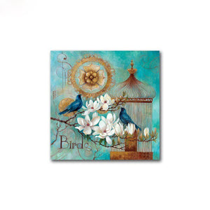 Modern Home Decoration 2 Panel European Style Retro Peacock Flower Canvas Painting Wall Art Picture