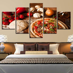 Modern Wall Art Pictures 5 Panel Pizza Onions  HD Printed Painting