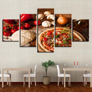 Modern Posters Wall Art Pictures 5 Panel Pizza Onions HD Printed Painting