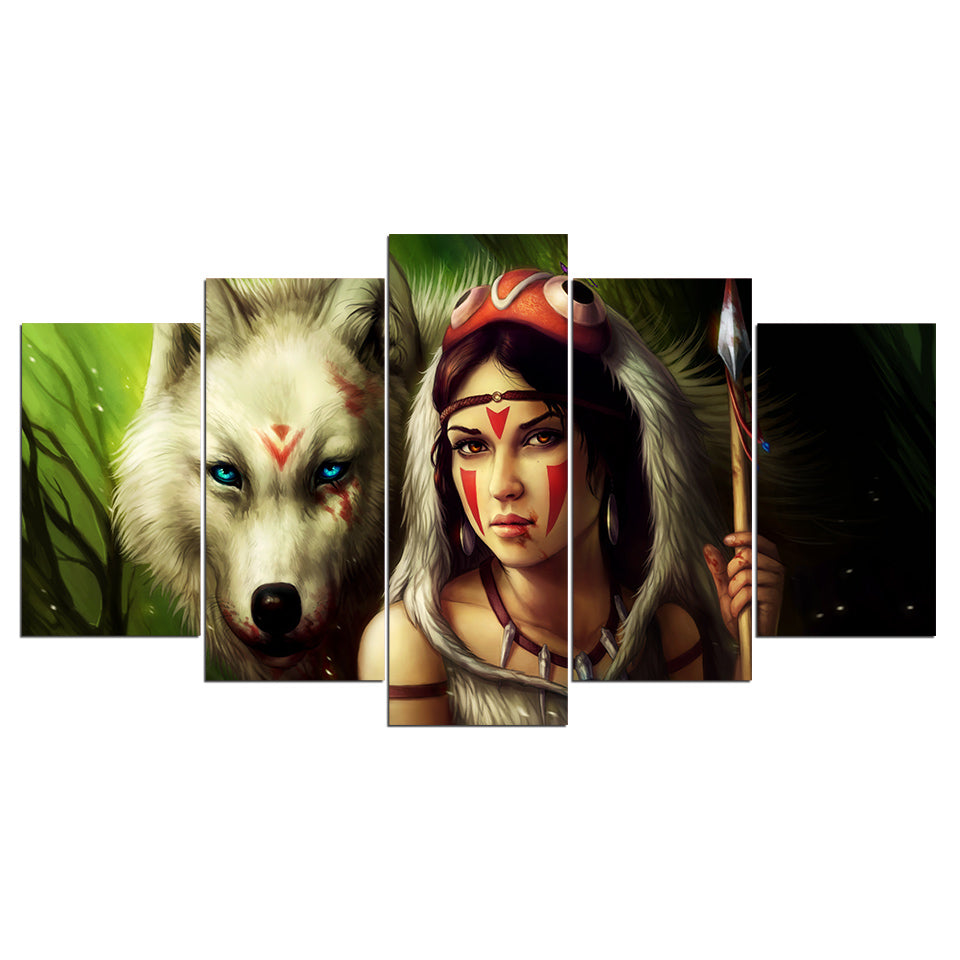 Princess Mononoke by JoJoesArt HD Print 5 Piece Canvas Art Wolf and Princess Painting Picture Wall