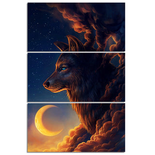 Night Guardian by JoJoesArt HD Print 3 Piece Canvas Art Wolf and The New Moonwall Pictures Painting