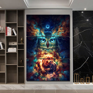 Nebowla by JoJoesArt HD Print 3 Piece Canvas Art Psychedelic Owl Home Decoration Wall Pictures