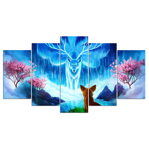 Wisdom by JoJoesArt HD Print 5 Piece Canvas Fox and Nine Tail Fox Wall Art Picture Home Decoration