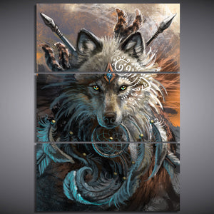 Wolf Warrior by Sunima-MysteryArt HD Print 3 Piece Canvas Painting Art Native American Indian Wolf Feather Dreamcatcher