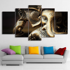 HD Printed 5 Piece Canvas Prints Elephant Hindu State Picture Canvas Print Wall Picture