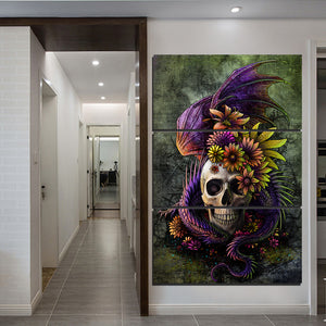 Flowery Skull by Sunima-MysteryArt HD Print 3 Piece Canvas Art Pictures For Living Room Decorative Pictures