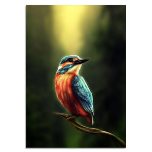 Kingfisher by Khalia HD Print 1 Piece Canvas art Kingfisher and Owl Abstract Wall Pictures For Living Room Poster