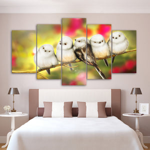 Cute Morning by KhaliaArt HD Print 5 Piece Canvas Art Birds Painting Wall Pictures