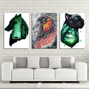 Firsthunt by Scandy Girl HD Print 1 Piece Canvas Art Wolf and Lion Abstract Wall Pictures For Living Room Poster