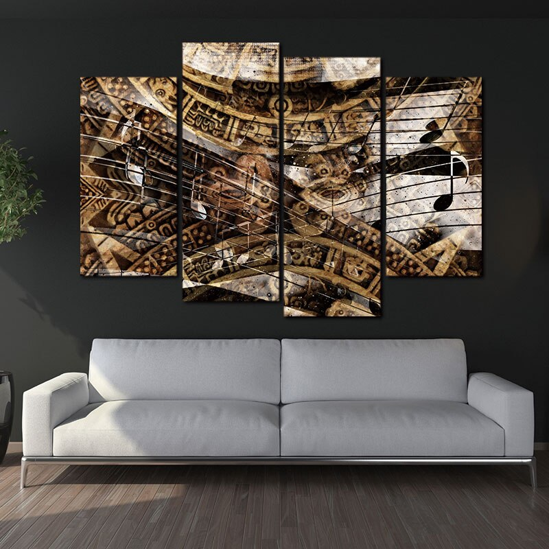 4 Piece Canvas Prints Ancient Mayan Calendar and Music Wall Art Picture Artwork Wall Paintings Wall Decor