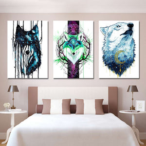 Foxgalaxy by Scandy Girl HD Print 1 Piece Canvas art Wolf and Fox Abstract Wall Pictures For Living Room Poster