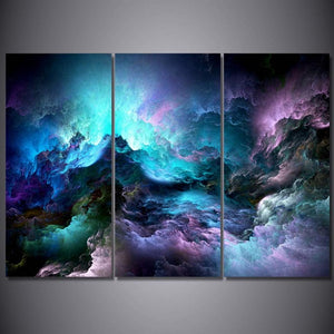 HD Printed 3 Piece Canvas Art Abstract Psychedelic Art Space Cloud Painting Wall