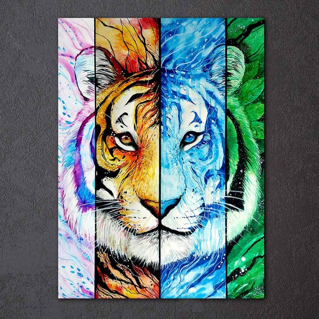 Blacklion by Scandy Girl HD Print 1 Piece Canvas Art Wolf Tiger & Lion Abstract Wall Pictures