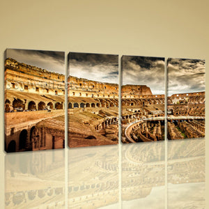 Wall Art Picture Canvas Painting Print 4 Piece Modern Rome Colosseum Building Home Decorative Paint