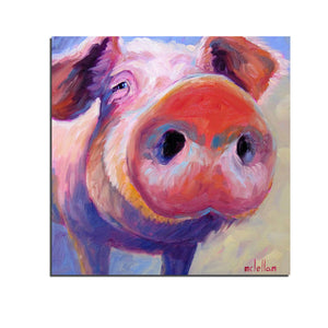 1 Piece Canvas Wall Art Cute Pig Painting Wall Pictures Red Peg Pig Posters and Prints Bristle Pig