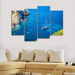 4 Piece Wall Art Sea Boat Picture Printed Canvas Art Oil Painting Home Decor Modular Painting Blue Tableau