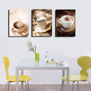 3 Piece Coffee Cup Painting Wall Art Pictures Kitchen Room Decor Shop Canvas Prints Paintings Poster