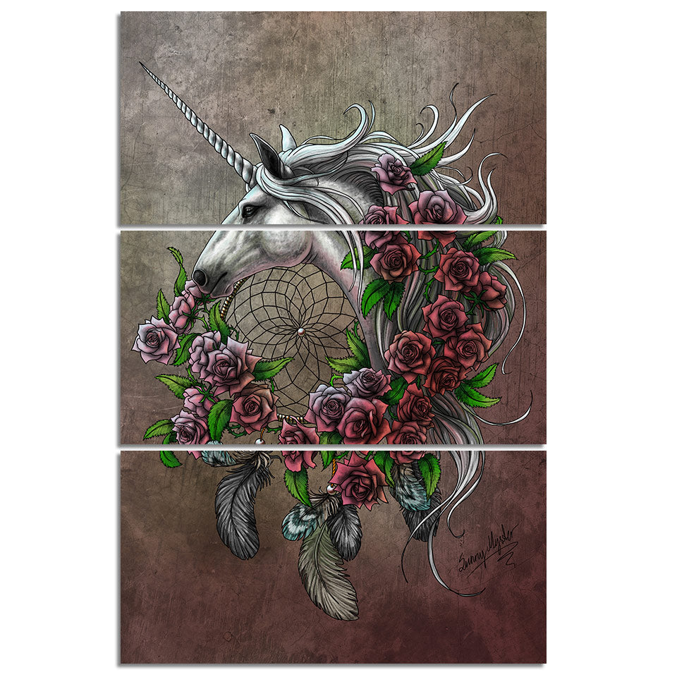 Unicorn Dreamcatcher Bedsheet Red by Sunima-MysteryArt HD Print 3 Piece Canvas For Living Room Pictures